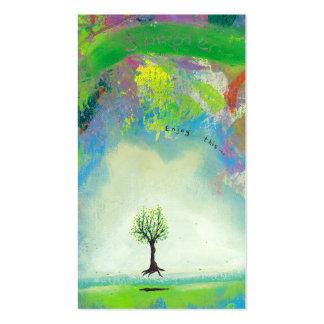 Arte moderno colorido flotante del árbol en el tarjetas de visita