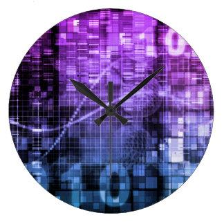 Arte moderno de la investigación de la ciencia y reloj redondo grande