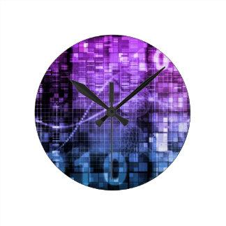Arte moderno de la investigación de la ciencia y reloj redondo mediano
