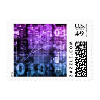 Arte moderno de la investigación de la ciencia y timbres postales