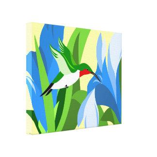 Arte moderno de la lona del colibrí lienzo envuelto para galerías