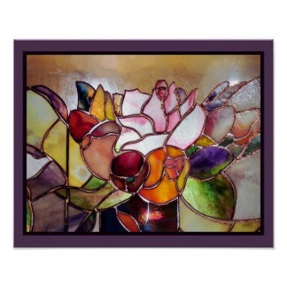 Arte moderno de la pared de la flor del vitral póster