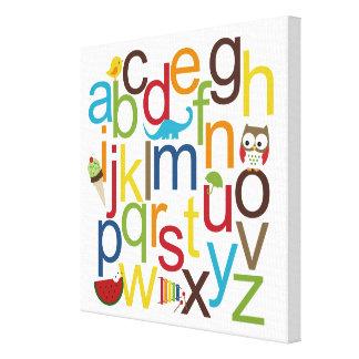 Arte moderno de la pared del niño de los alfabetos lona estirada galerías