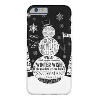 arte moderno de la tipografía del muñeco de nieve funda para iPhone 6 barely there