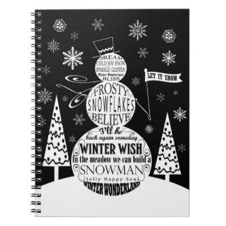 arte moderno de la tipografía del muñeco de nieve libro de apuntes con espiral