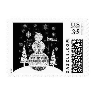 arte moderno de la tipografía del muñeco de nieve sellos