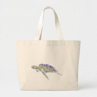 Arte moderno de la tortuga de mar de la natación bolsa tela grande