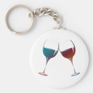 Arte moderno de las copas de vino llavero personalizado