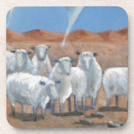 Arte moderno de las ovejas y del tornado posavaso