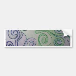 Arte moderno de los remolinos del azul y del verde pegatina para auto