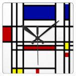 Arte moderno de Mondrian Reloj Cuadrado