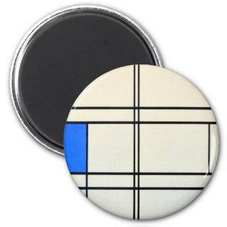 Arte moderno de Piet Mondrian Imán Redondo 5 Cm
