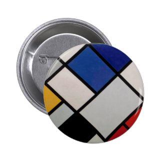 Arte moderno de Piet Mondrian Pin Redondo De 2 Pulgadas