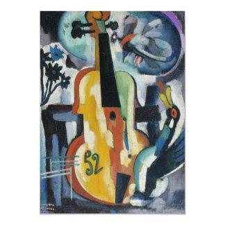 Arte moderno del decreto del violín invitación 12,7 x 17,8 cm