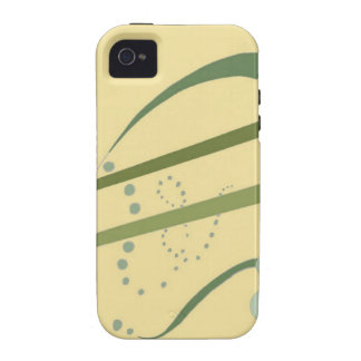Arte moderno del extracto amarillo del verde verde vibe iPhone 4 fundas