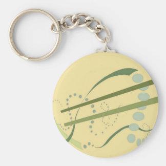 Arte moderno del extracto amarillo del verde verde llavero personalizado