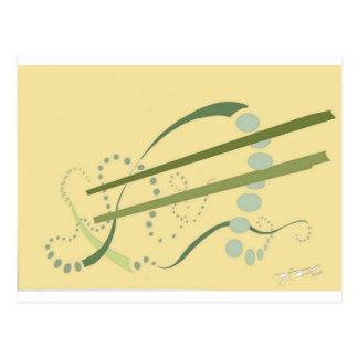 Arte moderno del extracto amarillo del verde verde postales