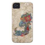 Arte moderno del extracto floral de los rizos iPhone 4 carcasa