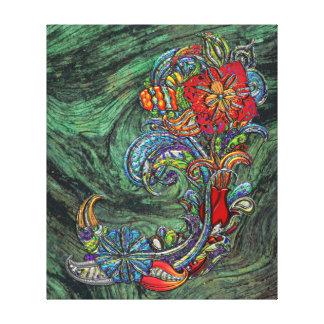 Arte moderno del extracto floral de los rizos impresiones de lienzo