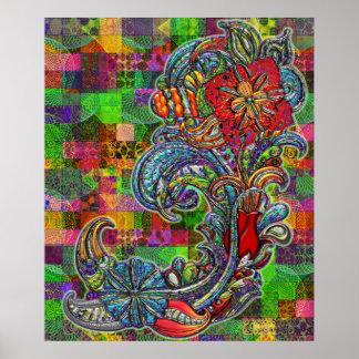Arte moderno del extracto floral de los rizos poster