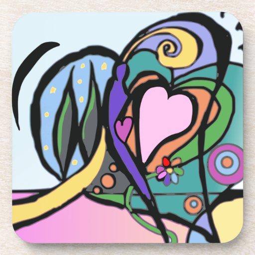 Arte moderno del flujo del corazón posavasos
