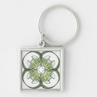 Arte moderno del fractal del trébol de la hoja de llavero personalizado