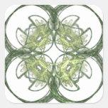 Arte moderno del fractal del trébol de la hoja de pegatina cuadradas personalizada