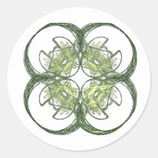 Arte moderno del fractal del trébol de la hoja de etiqueta