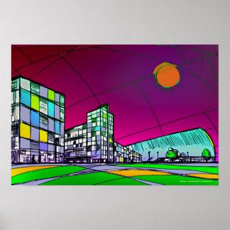 Arte moderno del poster del paisaje urbano