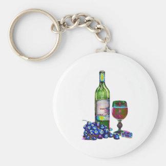 Arte moderno del vino y de las uvas llaveros personalizados
