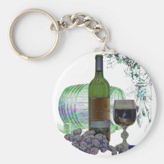 Arte moderno del vino y de las uvas llavero redondo tipo pin