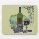 Arte moderno del vino y de las uvas alfombrilla de raton