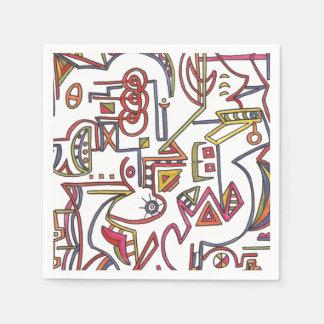 Arte moderno - dibujo caprichoso geométrico de la servilletas desechables
