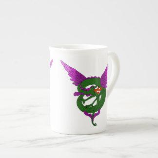 Arte moderno dragón verde y púrpura de Nouveau Taza De Porcelana
