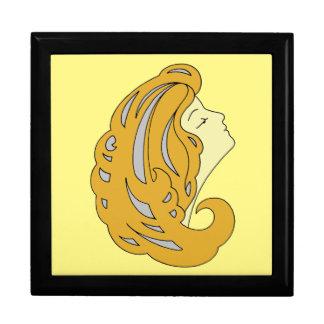 Arte moderno Nouveau, mujer con el pelo largo (2) Cajas De Joyas