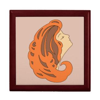 Arte moderno Nouveau, mujer con el pelo largo Cajas De Recuerdo
