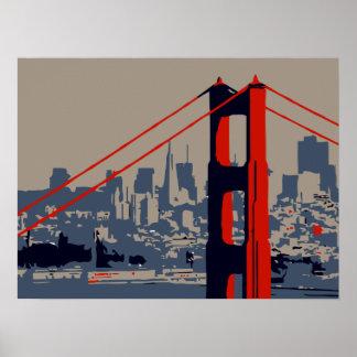 Arte moderno: Puente Golden Gate y horizonte Impresiones