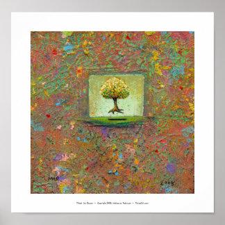 Arte moderno terroso flotante hermoso del árbol mi posters