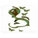 Arte moderno verde de Birdwing Postales