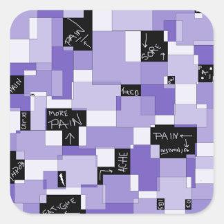 Arte modular del dolor púrpura pegatina cuadrada