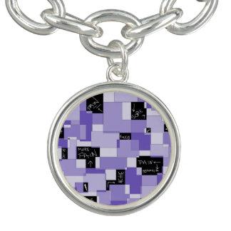 Arte modular del dolor púrpura pulsera con dije