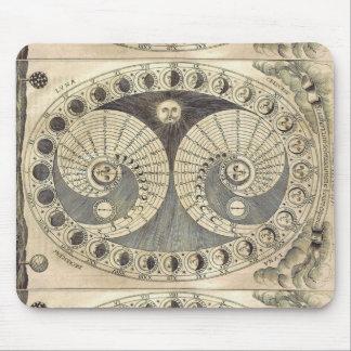 Arte Moonchart - fases del vintage de luna Tapetes De Raton