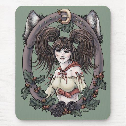 """Arte Mousepad de la fantasía de la """"capa con capuc Tapete De Raton"""