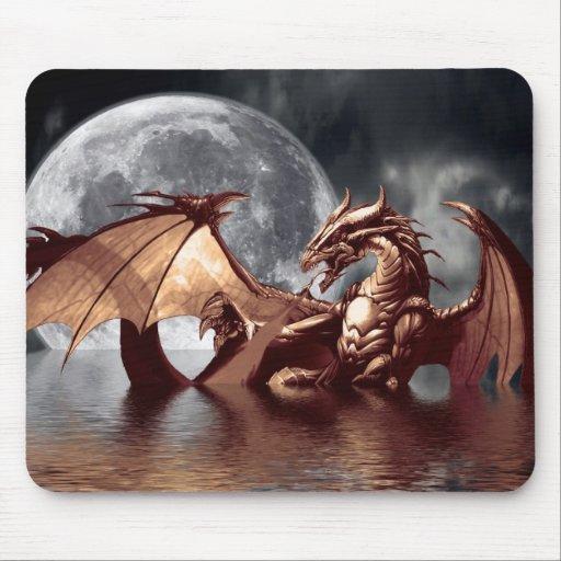 Arte Mousepad de la fantasía del dragón y de la lu