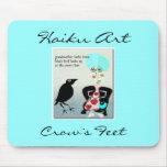 Arte Mousepad del Haiku de los pies de cuervo Tapete De Ratones
