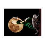 arte, mujer, luna, y onza de la fantasía postal