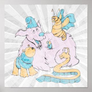 arte mullido del perro y del dibujo animado de los póster