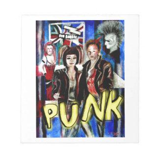 arte, música de punk rock, moda y estilo bloc de notas