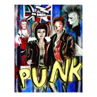 arte, música de punk rock, moda y estilo plantilla de membrete