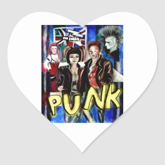 arte, música de punk rock, moda y estilo pegatina en forma de corazón